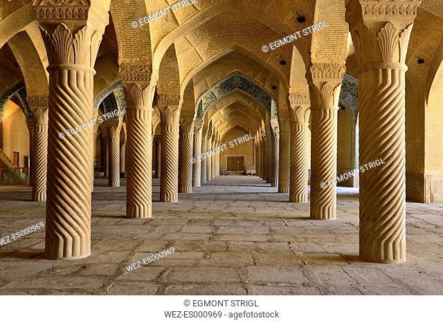 Iran, Fars Province, Shiraz, pillars in the prayer hall of Vakil Mosque