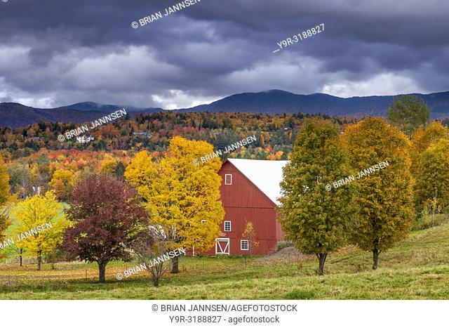 Fall foliage surrounding red barn near Stowe, Vermont, USA