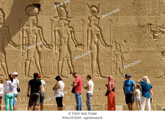 Carvings on the outside wall of the Temple of Hathor, Dendera necropolis, Qena, Nile Valley, Egypt, North Africa, Africa