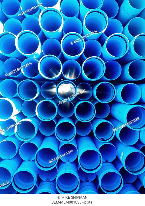 Stack of cylinders outdoors