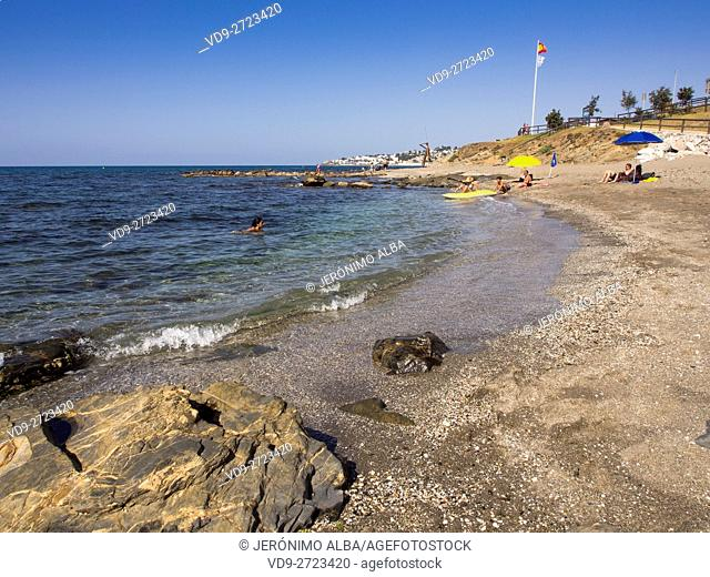 La Cala beach in Mijas, Malaga province. Costa del Sol, Andalusia southern. Spain Europe