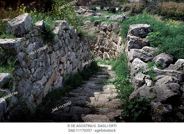 Steps leading to the Cyclopean walls on the acropolis of Tiryns (UNESCO World Heritage List, 1999), Greece. Mycenaean civilisation, 13th century BC