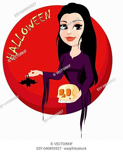 Happy Halloween party. Beautiful lady in gothic style wearing black long dress and holding skull and bat. Cartoon character for design of posters, banners