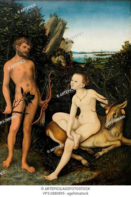 Lucas Cranach - Apollon and Diana in woody Landscape - 1530 - XVI th Century - German School - Gemäldegalerie - Berlin