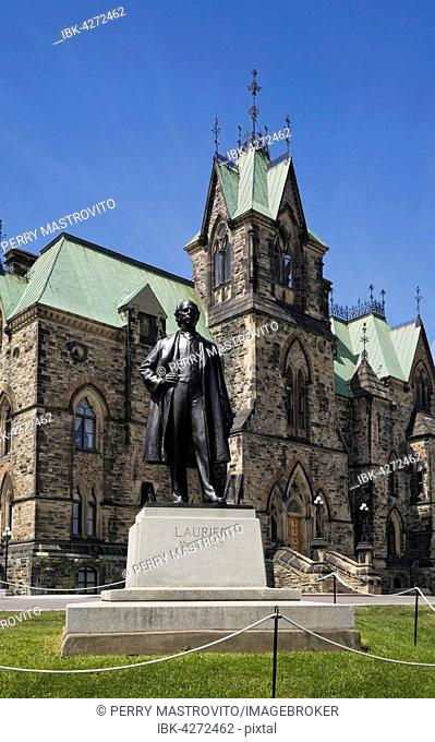 Wilfrid Laurier monument in front of East Block building, Ottawa, Ontario, Canada