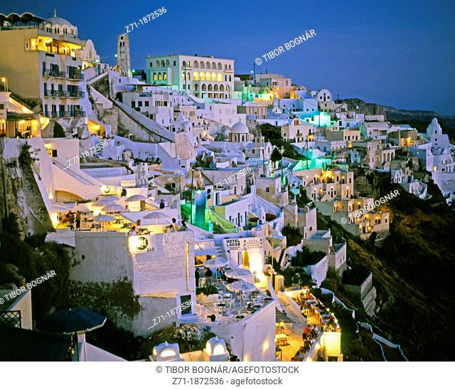 Greece, Cyclades, Santorini, Thira, general view