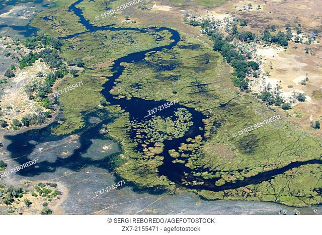 Botswana, Moremi Game Reserve, Okavango Delta, Camp Khwai River Lodge, Aerial view of river and delta . The best time to visit the delta depends on what you...