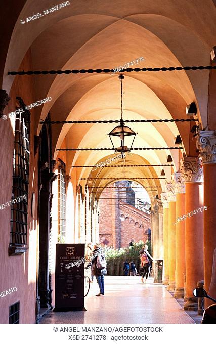 Arcade in San Stefano square, Bologna, Italy
