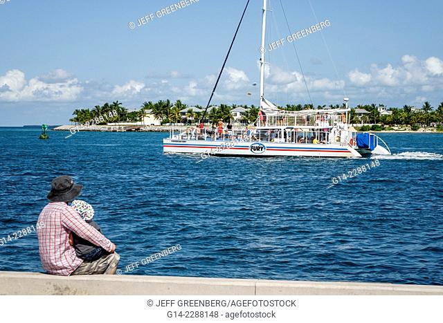 Florida, Key West, Sunset Key, Gulf of Mexico, Westin Key West Resort, island, water, man, father, son, boy, boat, excursion