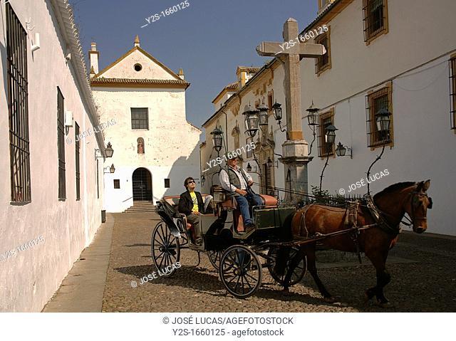 Square of the Capuchinos, «Cristo de los Faroles» and horse drawn carriage, Cordoba, Spain
