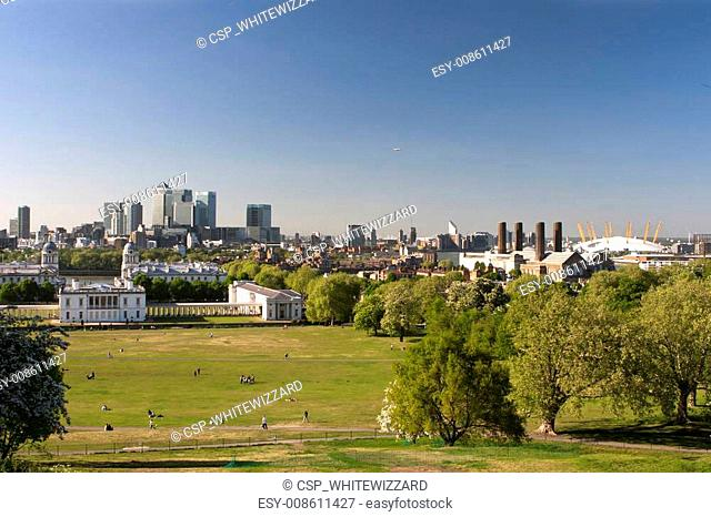 Panorama of London from the hills of Greenwich