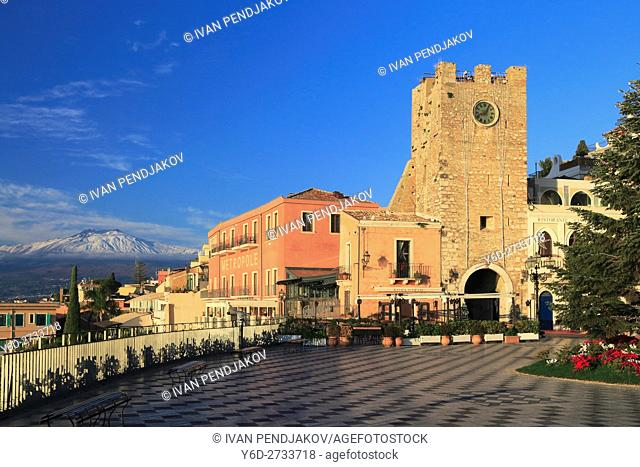 Taormina and Mount Etna in the Background, Sicily, Italy