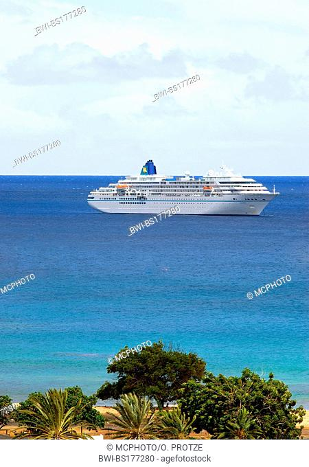 cruise ship Amadea anchored in the port of Ascension in West Africa, Saint Helena, Ascension Island