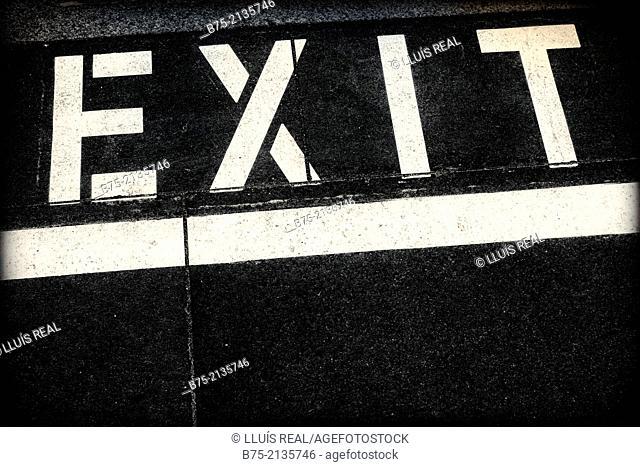 Urban symbolism, Exit, writed on the asphalt, London, England, UK