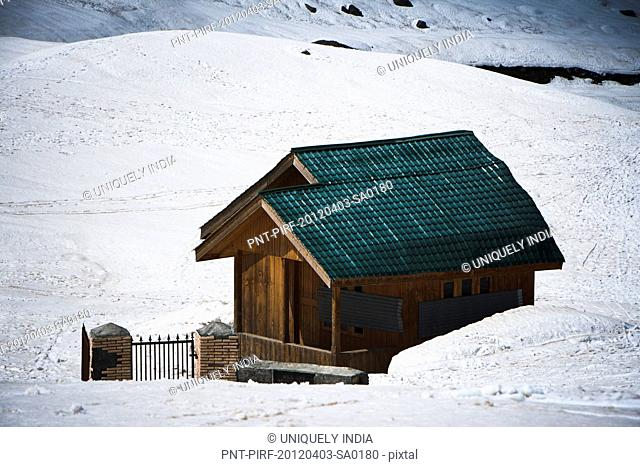 Small cottage at ski resort in winter, Sonmarg, Jammu And Kashmir, India