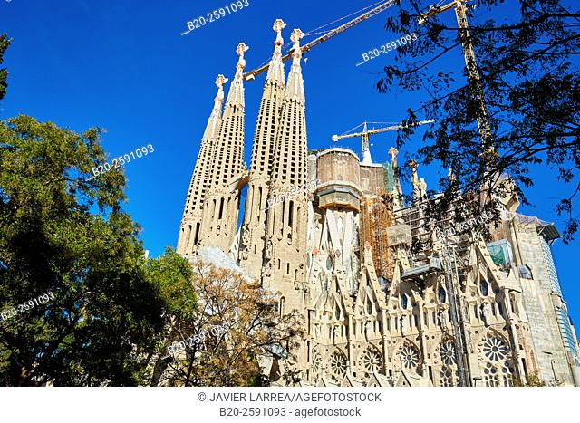 La Sagrada Familia Church. Designed by the architect Antoni Gaudí. Eixample district, Barcelona, Catalonia, Spain