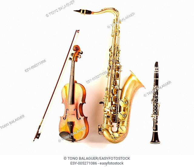 Music Sax tenor saxophone violin and clarinet in white background