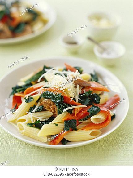 Penne Pasta with Peppers, Greens and Sausage