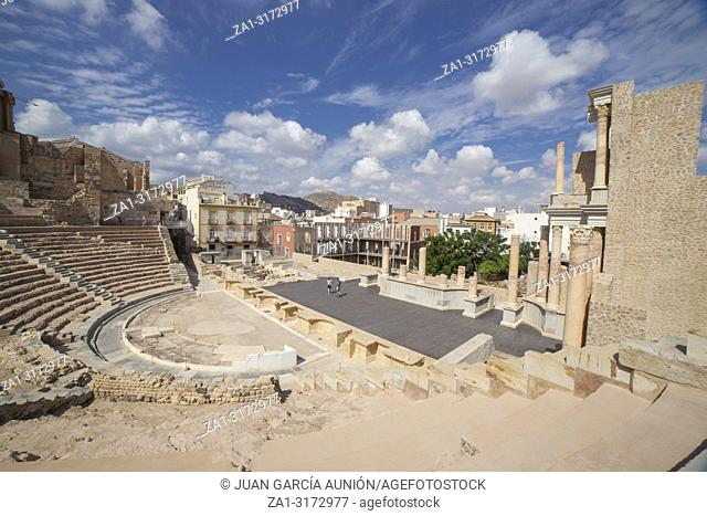 Overview of the stage and stands of Roman Theater of Cartagena city in Spain