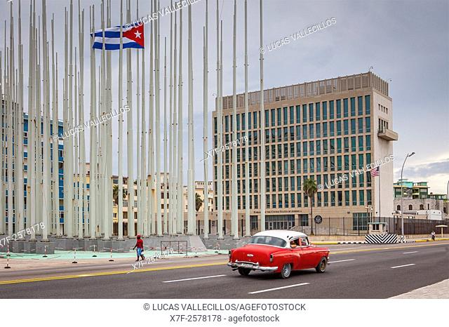Forest of flags, in Anti-imperialist Tribune Jose Marti and . Embassy of the United States of America,The 138 flags in the forest of Flags have been replaced by...