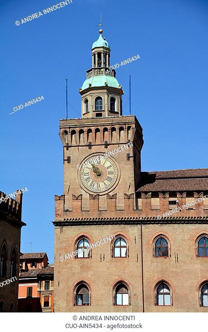 City Hall, Palazzo d'Accursio It is located on the Piazza Maggiore square, Bologna, Emilia Romagna, Italy, Europe