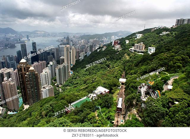 Hong Kong skyline. Panoramic view of Hong Kong and Kowloon from Victoria Peak Tower. Hong Kong, China, SAR