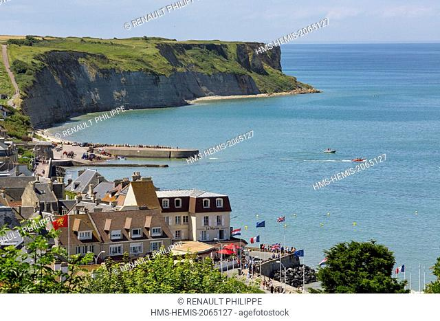 France, Calvados, Arromanches les Bains, the circuit of the landing beaches of World War II, the remains of the artificial harbor