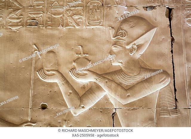 Bas-relief of Pharaoh Seti I, Temple of Seti I, Abydos, Egypt