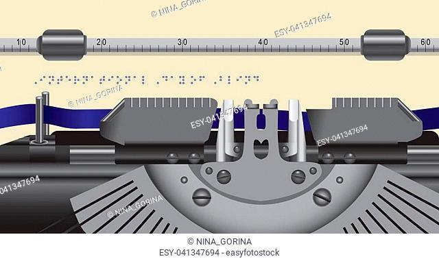 Working part of an old typewriter,typewriter type font Braille