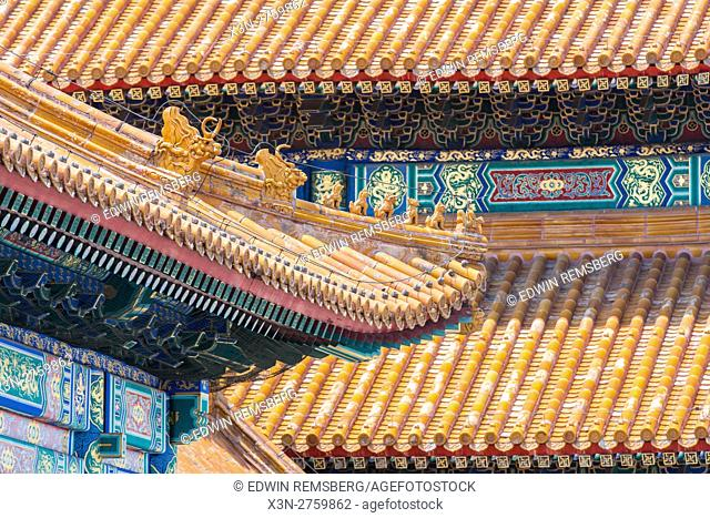 Beijing China - Detail of the ornamented roof and architecture of the Palace Museum located in the Forbidden City