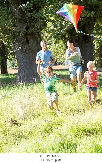 Family Flying Kite On Holiday In Countryside