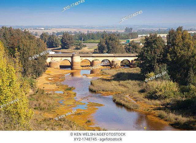 Niebla, Huelva Province, Andalusia, southern Spain  The Roman bridge crossing the Rio Tinto
