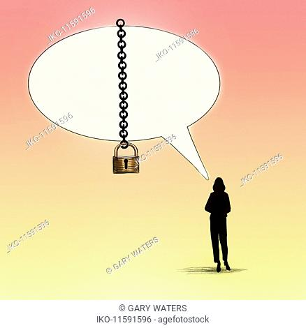 Woman's speech bubble padlocked with chain