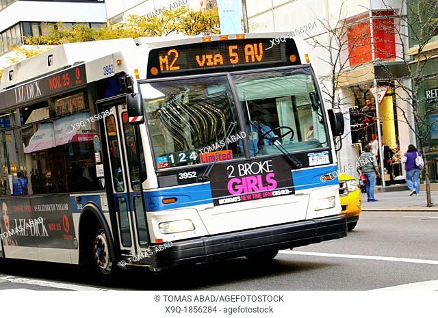 New York City Public Transportation M2 Bus, Manhattan, New York City, USA