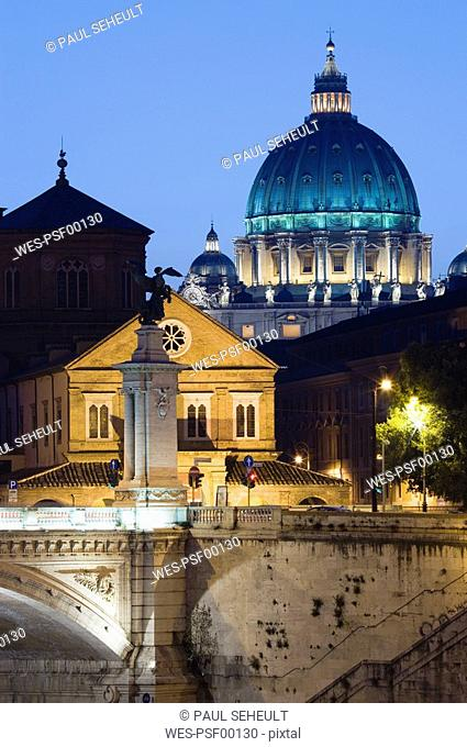 Italy, Rome, Vatican City, Basilica of Saint Peter, Ponte Vittorio Emmanuele at night