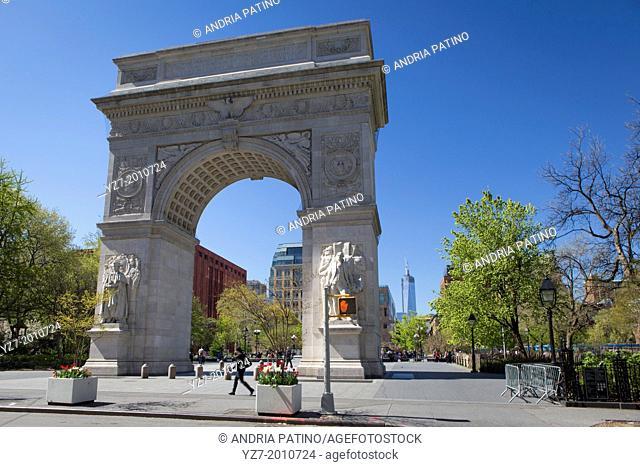 Washington Arch in the Washington Square Park, NYC, NY, USA