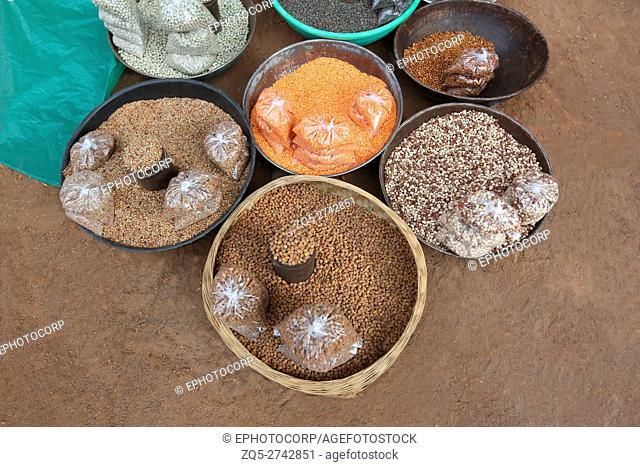 Grains for sale, Tribal Market, Jagdalpur, Bastar District, Chattisgarh, India