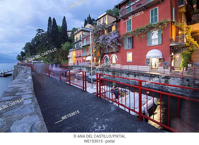 Como lake in Varenna at twilight Lombardy Italy