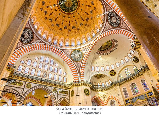 ISTANBUL, TURKEY JUNE 05, 2017: Interior view of domes and ceilings of Suleymaniye mosque, largest mosque of Istanbul was built in 1550-1580 by design of the...