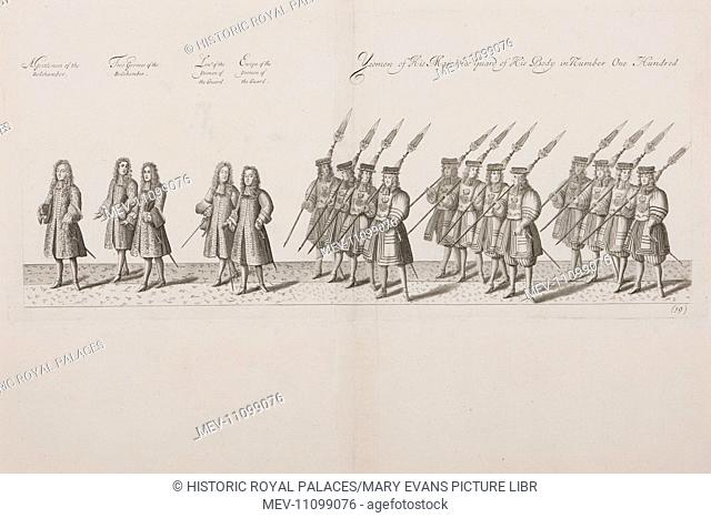 An illustration from a contemporary account of the coronation of King James II on 23 April 1685 showing part of the coronation procession˜