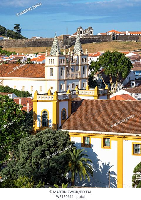 Igreja do Santissimo Salvador da Se. Capital Angra do Heroismo, the historic center is part of UNESCO world heritage. Island Ilhas Terceira
