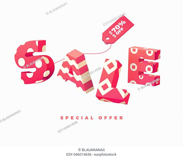 3D pink letter Sale sign with label on white background, vector illustration