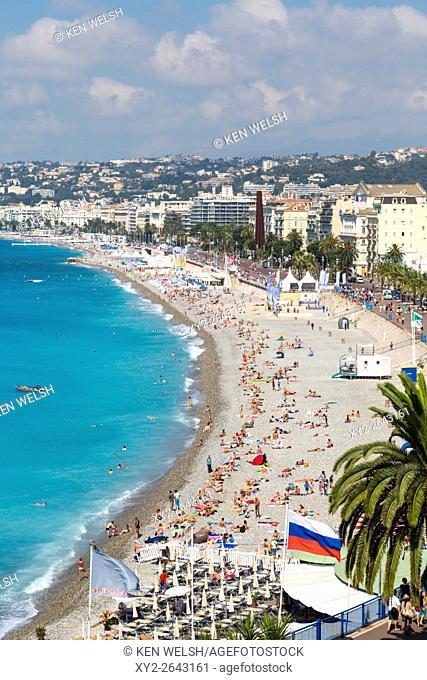 Nice, French Riviera, Cote d'Azur, France. Beach and Promenade des Anglais seen from Parc de la Colline du Chateau, or Castle Hill