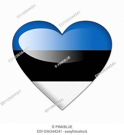 Estonia flag in heart shape isolated on white background