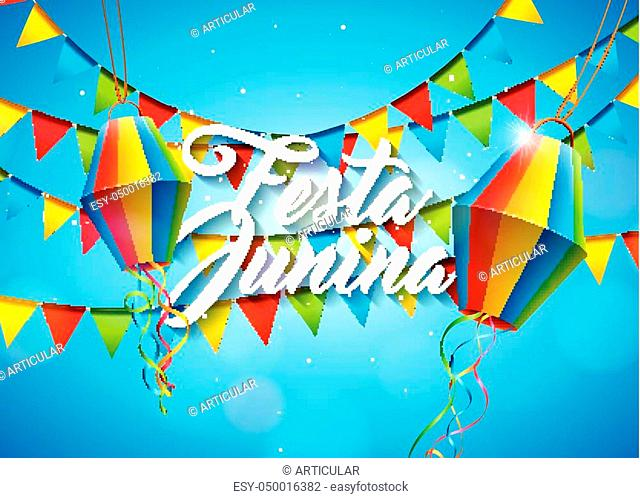 Festa Junina Illustration with Party Flags and Paper Lantern on Yellow Background. Vector Brazil June Festival Design for Greeting Card