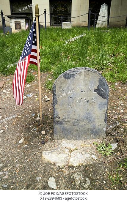 original tomb marker of paul reveres grave at Granary Burying ground Boston USA