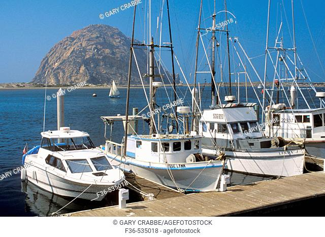 Commercial fishing boats docked at waterfront at Morro Bay, near Morro Rock, San Luis Obispo County coat, California