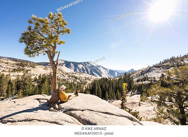 USA, California, Yosemite National Park, hiker leaning on tree