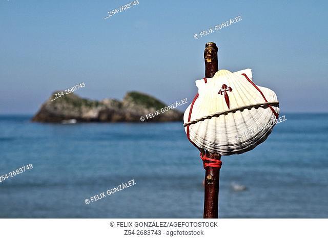 Saint James Shell at Camino Norte, Asturias, Spain