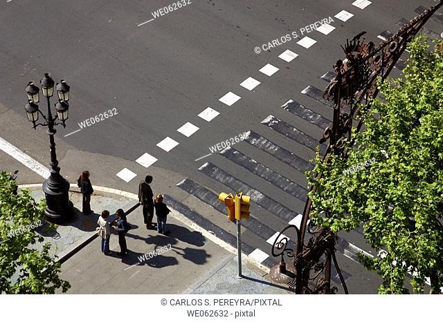 Crosswalk at Passeig de Gracia, Barcelona. Catalonia, Spain